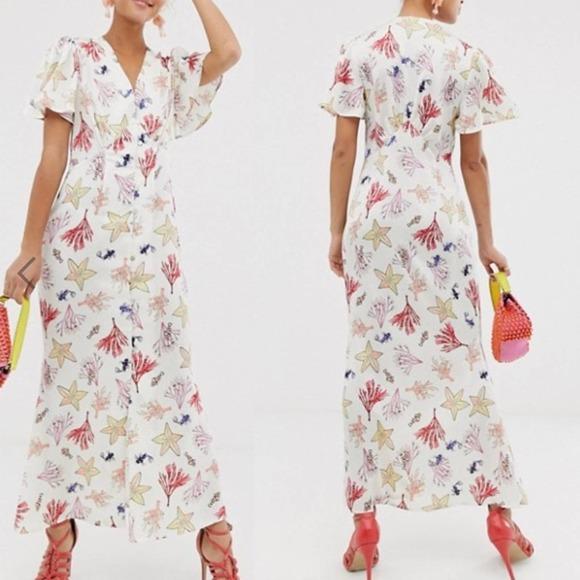 NEVER FULLY DRESSED Ocean Life Silky Maxi Dress